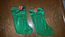 """CHRISTMAS HOLIDAY GREEN SEQUINS (2) SATIN FEEL STOCKINGS . SIZE 16"""""""