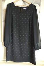 Next Ladies Dress Size 12 Black Chiffon Party Evening Beaded Shift