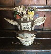 Primitive Country Easter Bunny & Spring Hat ~ Pip Berries Twigs Bumble Bee