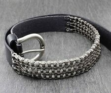 Heavy Motorcycle Chain Genuine Leather Belt For Men Biker Rocker Punk