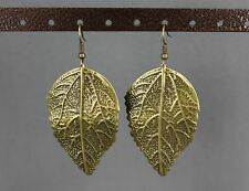 "Textured leaf leaves dangle earrings 2.75"" long stamped metal"
