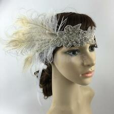 Vintage Diamante Feather Flapper 1920 Hair Head Band Great Gatsby Headpiece