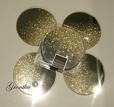 Set of 4 Sparkle Shimmer Mirrored Glass Glitter Gold Table ROUND Coasters