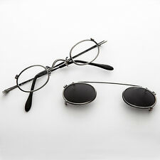 Small Round Clip on Vintage Sunglass RX Optical Frame Antique Gun Metal-Ansel
