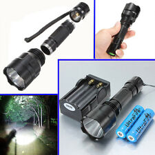 5000LM 5-Modes T6 LED Flashlight Torch Lamp Light + 2x 18650 Batteries + Ch