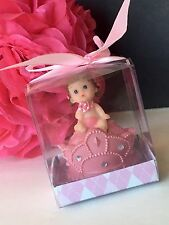 12-Baby Shower Party Favors Queen Girl Decorations Figurines Recuerdos Nina Pink