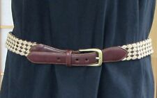 Brighton Womens Brown Leather-Woven Braided Fabric Brass Buckle Belt