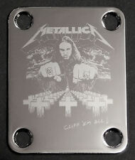 GUITAR NECK PLATE Custom Engraved Etched - METALLICA Bass CLIFF BURTON - Chrome