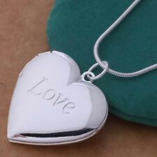 Fashion 1PC Sterling Silver Plated Heart LOCKET Photo Charm Pendant Necklace zws