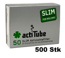 AKTIVKOHLEFILTER SLIM, actiTube, 10x 50er Packung (= 500 stk),worldwide shipping