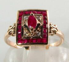 DIVINE 9CT 9K ROSE GOLD DECO INS INDIAN RUBY & DIAMOND RING