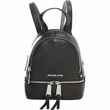 Michael Kors Rhea Zip X-Small / Mini Messenger Crossbody Bag Backpack Black/Slvr