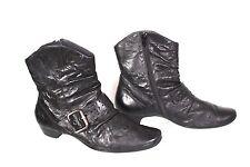 17D Paul Green Damen Stiefeletten Ankle Boots Leder schwarz Gr. 38 (5) flach