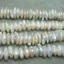 White Freshwater Pearl 12-15mm Baroque Coin Rondelle 1.5mm Large Bead Hole 8""