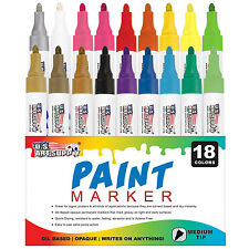 18 Color Set of Oil Based Paint Pen Markers, Medium Point Tips, Permanent Ink