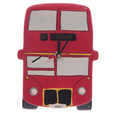 RED LONDON BUS CERAMIC WALL CLOCK, ROUTEMASTER  , COLLECTABLE