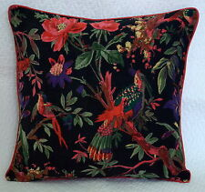 "16"" BLACK VELVET THROW BIRD PILLOW CUSHION COVER Ethnic Decoration Indian Art"