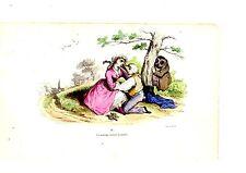 LITHOGRAPHIE COULEUR DE GRANDVILLE 19ème IV UN  MARIAGE SUIVANT LA NATURE