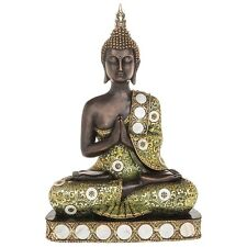 GORGEOUS X LARGE SIAM BUDDHA SITTING THAI STATUE FIGURE ORNAMENT NEW BOXED 41cm