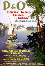 Arte cartel-Egipto-India-China - Japón-AUS RTW crucero-viaje A3 impresión