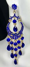 """Gorgeous! 4"""" Blue Chandelier Crystal Earrings, Drag Queen, Pageant, Prom, Bridal"""
