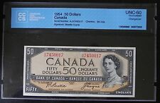 1954 Bank of Canada $50 Note CCCS Certified UNC-60 Beattie/Coyne Changeover
