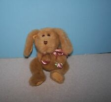 """Cute Jerry Elsner, New York 8"""" Tan Puppy Dog Jointed Bean Plush w/ Flower"""