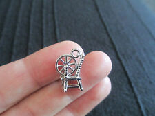 Pack of 10 3D Tibetan Silver Spinning Wheel Charms 14mm x 12mm