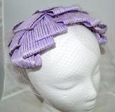 Vintage Purple Straw Crown Netted Veiled Bonnet Hat Union Made