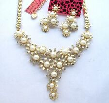 Betsey Johnson Flashes crystal/pearls Flowers gathered Necklace Earring set#322T