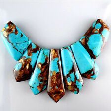 7pcs Pretty Turquoise & Gold Copper Bornite stone Pendant Bead MJT15