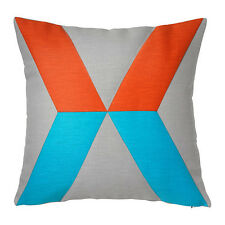 "IKEA PS - Cushion Cover Ramie Gray Orange Turquoise Reversible 20 x 20 "" NEW"