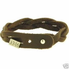 John 3:16 Braided Brown Leather Bracelet Adjustable With Vintage Metal Slider
