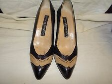 Vintage Maud Frizon Paris Black & Tan Pumps  Heels Size 37 1/2