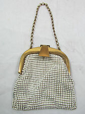 Vintage Whiting & Davis White Chain Mail Mesh Coin Purse Made in USA 1920's