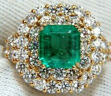 $36000 GIA 7.51 Natural Colombia bright green emerald diamonds ring 18kt