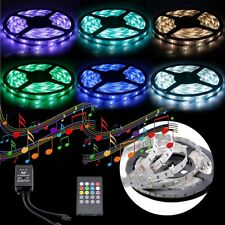 5050 RGB 5M SMD 12V MUSIC SOUND SENSOR LED Strip Light Waterproof IR Controller