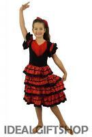 GIRLS FLAMENCO COSTUME SPANISH SENORITA FANCY DRESS DANCE RUMBA KIDS CHILDS