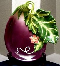 Fitz & Floyd Le Marche 3D Eggplant platter w/ leaf dipping compartment- Retired