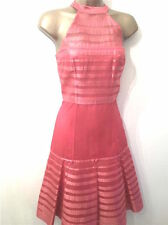 New KAREN MILLEN Halterneck Ribbon Silk Dress Size 8 coral Pink or Black