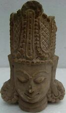 VINTAGE SANDSTONE HEAD OF HINDU GOD LORD VISHNU SCULPTURE VERY EXCELLENT CARVING