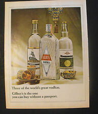 1966 Gilbey's Vodka Bottles-Ovchinnikov Cups-Lamp 19th-Century Russian Art Ad