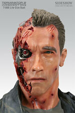 SIDESHOW TERMINATOR T-800 BATTLE DAMAGE LIFE-SIZE ARNOLD BUST STATUE FIGURE RARE