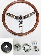 """New! 1960-63 Chevrolet Corvair Grant Wood Steering Wheel walnut Red/Black 15"""""""