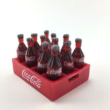 12 COKE COCA COLA Mini Plastic Bottles With Case Miniatures Dollhouse Decorate