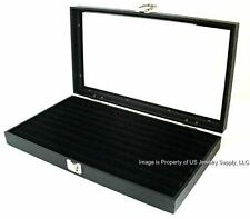 6 Wholesale Glass Top Lid Black 8 Row Ring Display Portable Storage Boxes Cases