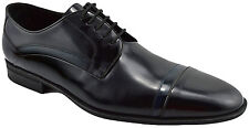 $650 DOLCE & GABBANA Black Blue Leather Cap Toe Oxfords Dress Mens Shoes 44 / 10