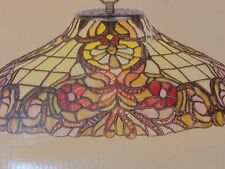 "Tiffany Style Hanging Light w. chain 16""x7 1/2"" floral motif multi-color"