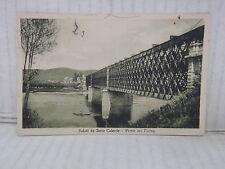 Vecchia cartolina foto d epoca di SESTO CALENDE PONTE SUL TICINO 1934 VEDUTA