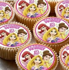 24 PERSONALISED DISNEY PRINCESS RICE PAPER CUP CAKE - FAIRY CAKE TOPPERS X24